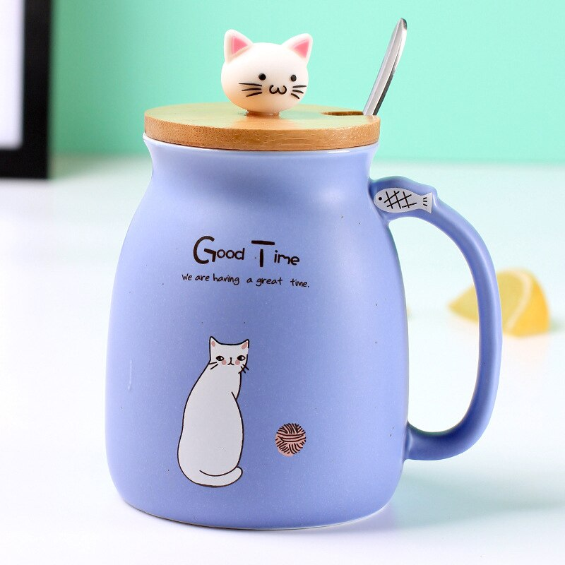 Cartoon Cat Coffee Mug with Lid