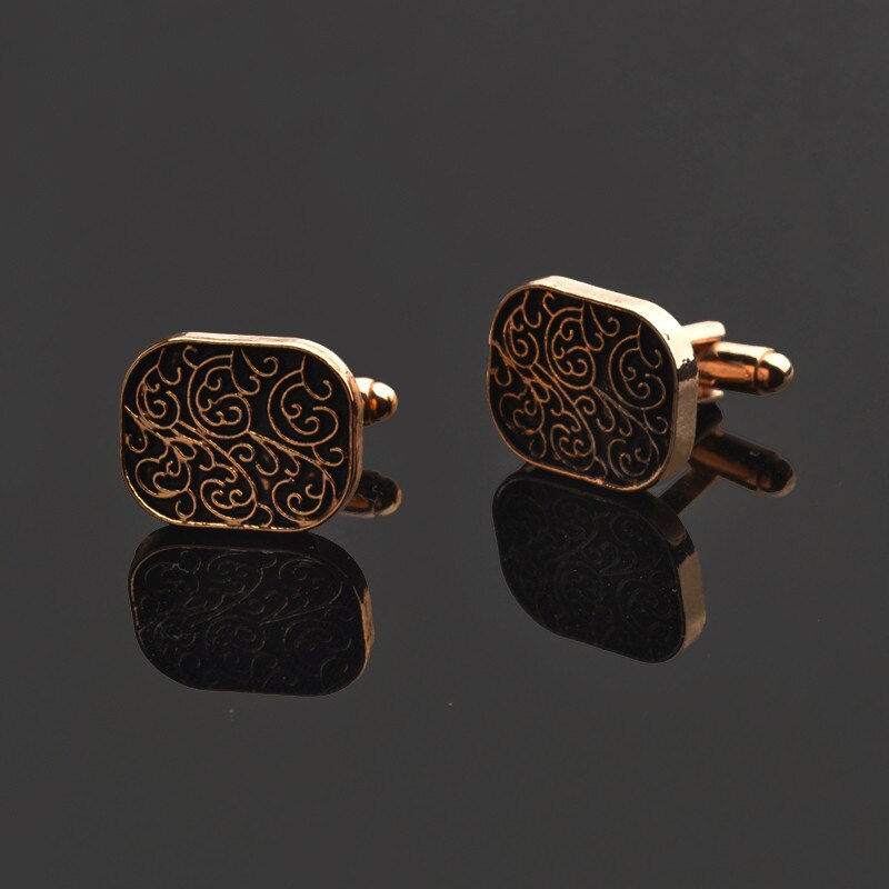 Men's Black and Gold Cuff Links