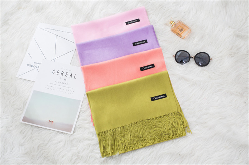 Women's Solid Color Tassel Scarf