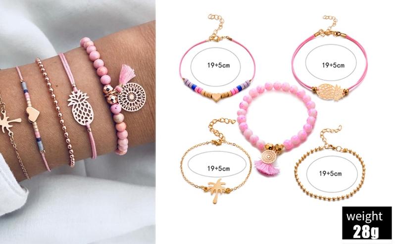 Women's Boho Marble Patterned Beaded Bracelet